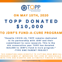 TOPP FOUNDATION DONATES $10,000 TO T1D CURE RESEARCH FOR THE 4TH CONSECUTIVE YEAR